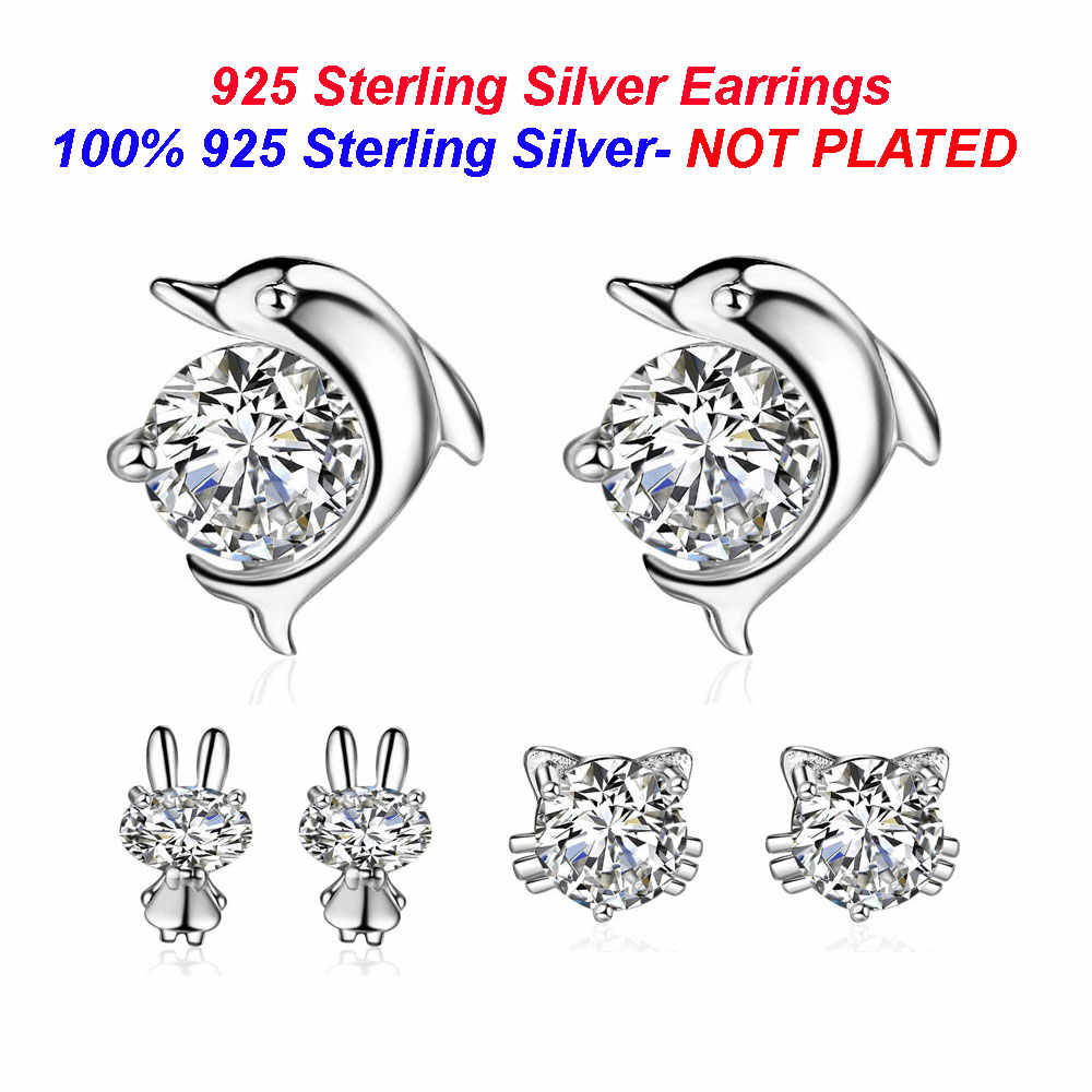 100% 925 Sterling Silver Dolphin Stud Earrings Vnistar Rabbit Silver Ear Studs Wholesale Cute Cat Earrings for Women