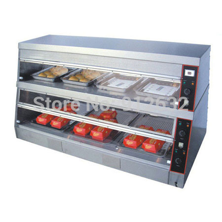 1500mm commercial display showcase, food warmer displayer with 2 layer, 7pans