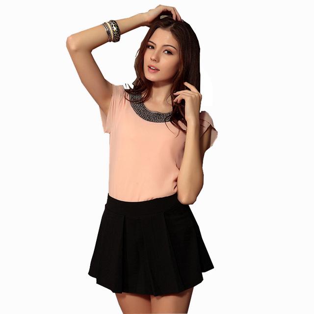 New 2017 Tops Sleeve Shirt Fashion Blusas Femininas Blouse Beading Elegant Blouse Brief Chiffon Blouse Shirt Women Top