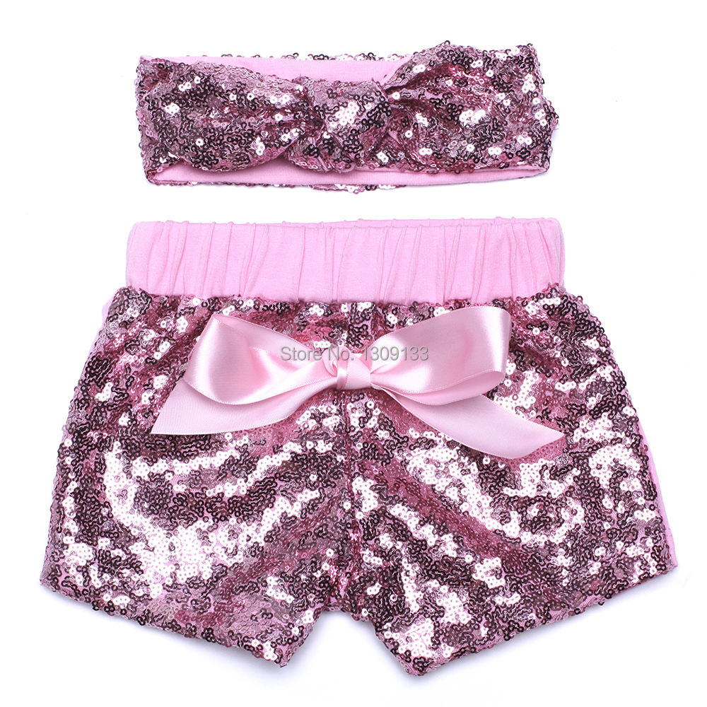 Girls Summer Baby Dance Party Sequin Shorts with headband set