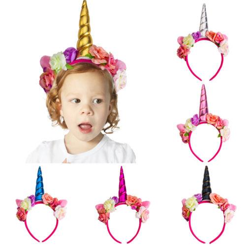 Magical Unicorn Horn Head Party Kid Hair Headband Fancy Dress Cosplay Decor HI