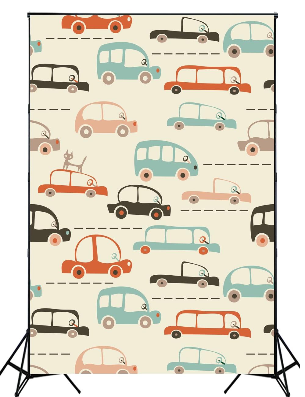 2016 New arrival cartoon cars photography backdrops Khaki photo background for newborn photo XT-4192