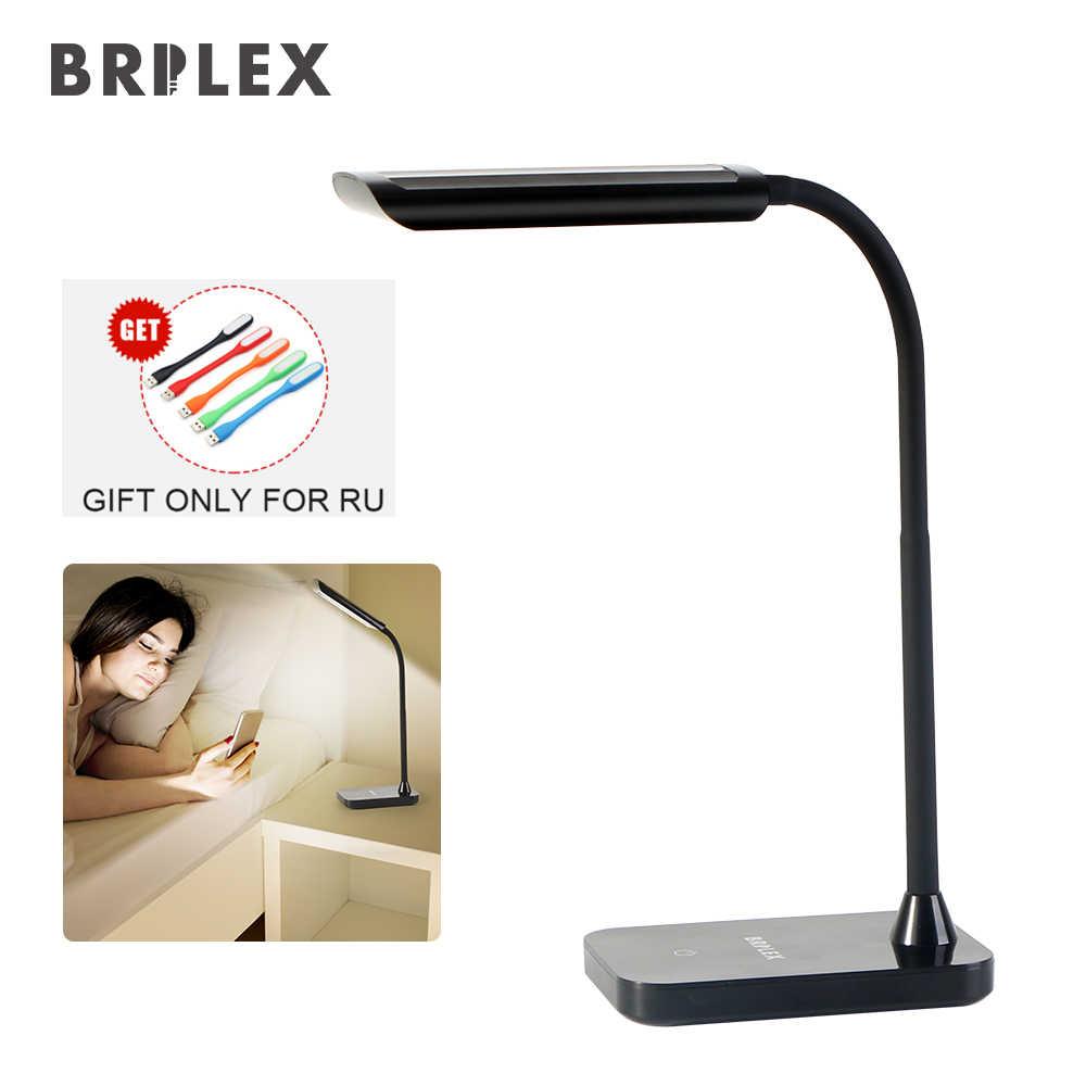 Настольная лампа BRILEX, гибкий светодиодный светильник с сенсорным управлением, настольная лампа, 3 режима освещения, вращающийся и регулируемый кронштейн, черный, Бесплатная доставка