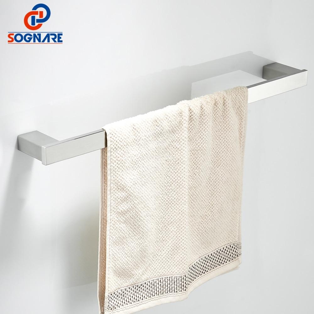 Фото SOGNARE 304 Stainless Steel Towel Bars Nickel Brushed/Black Single Towel Bar,Towel Rail, Towel Holder,Bathroom Accessories D1703