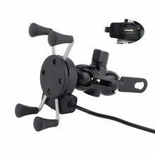 Lusterka motocyklowe x grip 3.5 6 Cal uchwyt na telefon komórkowy ładowarka USB dla harley electra glide Softail Road King