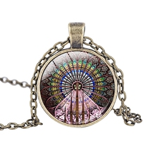 3pcs/lots Round Flower window glass pendant necklace Notre Dame Cathedral jewelry Cultural and artistic commemorative