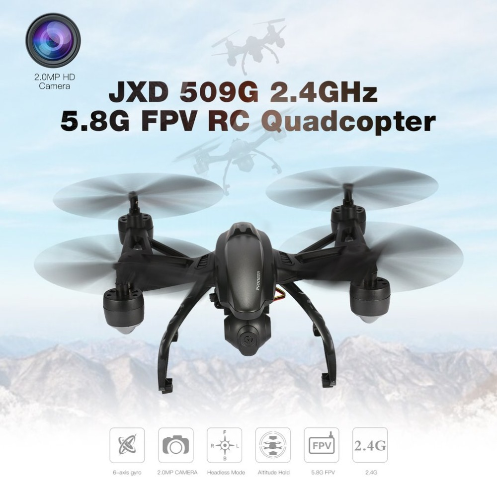 JXD 509G 2.4GHz Mini Drone 5.8G FPV RC Quadcopter with 2.0MP HD Camera Headless Mode Built-in Height Locking Flight RC Mode jxd 512dw mini rc quadcopter gold