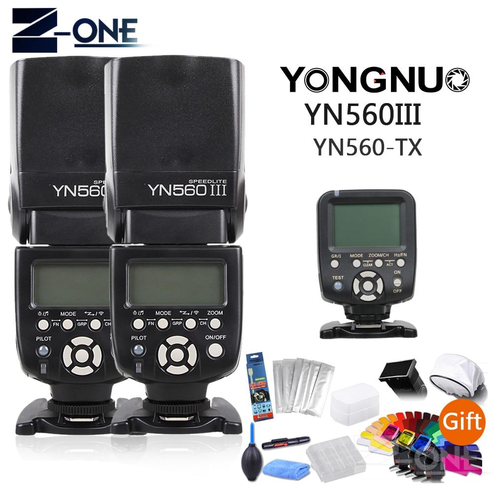 2PCS Yongnuo YN560III YN560 III Manual Radio Flash Speedlite+YN560-TX YN560TX LCD Wireless Controller For Canon Cameras  Gift