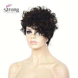Image 3 - Short Black Highlighted Curly top Full Synthetic Wig Auburn mix Women lady wigs