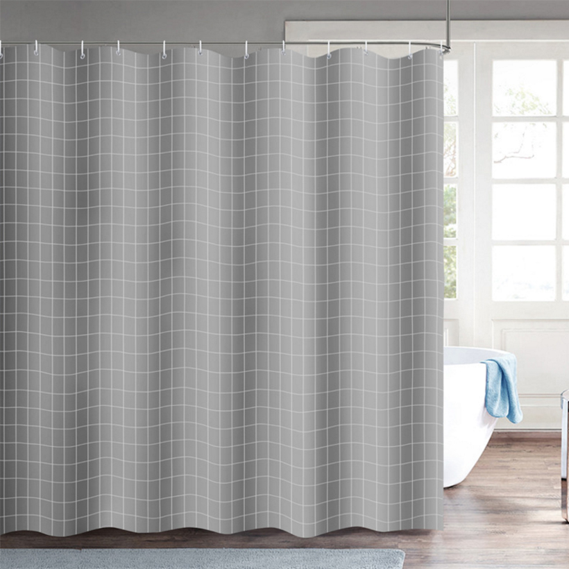 Plaid Shower Curtain Waterproof And Mildewproof Bathroom Polyester Shower Curtain Thickened <font><b>180*200</b></font> Bathroom Shower Curtain D30 image