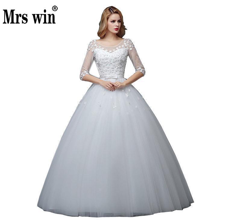 2018 New Arrival Bride Dress Lace Up Half Sleeve Korean