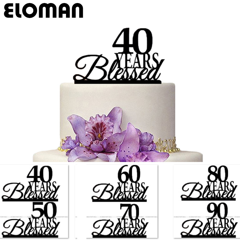 ELOMAN '40 <font><b>50</b></font> 60 70 <font><b>80</b></font> 90 Years Blessed' birthday cake topper Black Acrylic cake decorations for birthday party favors image
