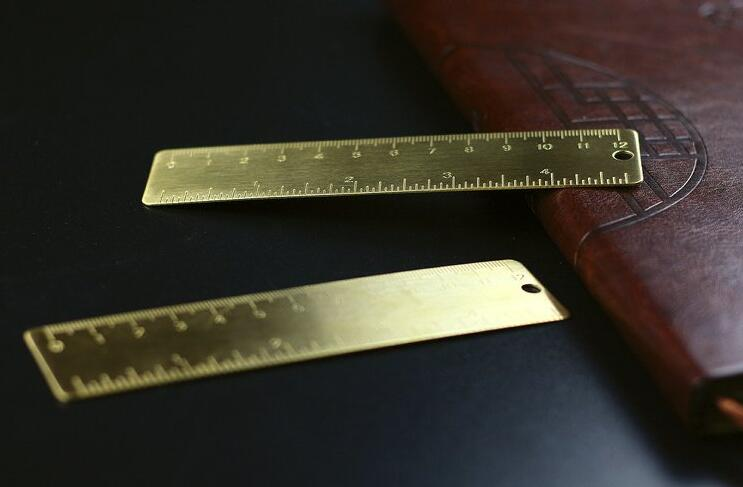 Small Ruler Brass Portable Straight Ruler Office School Ruler Supplies Accessory