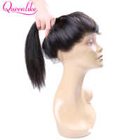 QueenLike Straight Hair 130% Density Human Hair Non Remy Natural Hairline With Baby Hair Pre Plucked 360 Lace Frontal