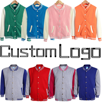 Cheap Custom Logo Boy Girl Women College Baseball Jacket Men Letterman Varsity Coat Green Orange Pink Navy Blue Red Grey Sleeves