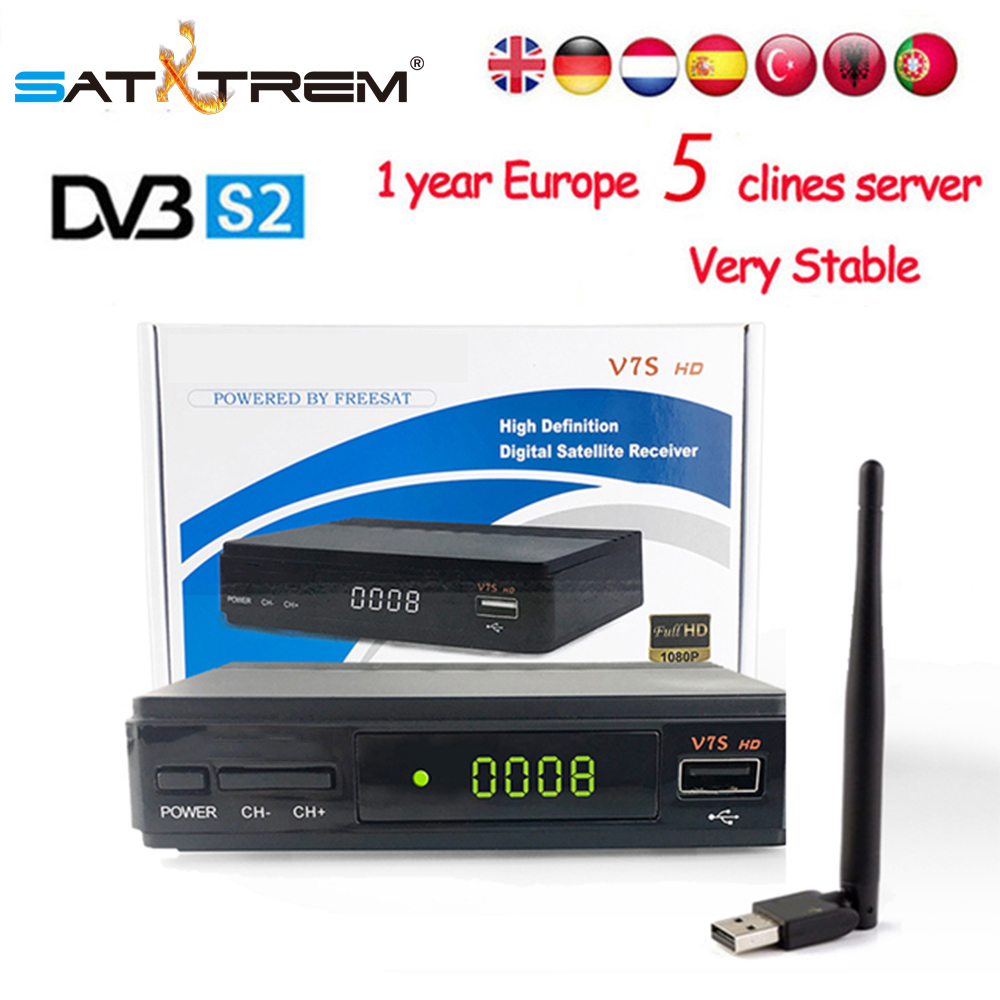 PK freesat V7 Ricevitore TV Satellitare decoder V7SS HD DVB-S2 + USB Wfi Recettore con 5 linee Europa conto Cline supporto powervu