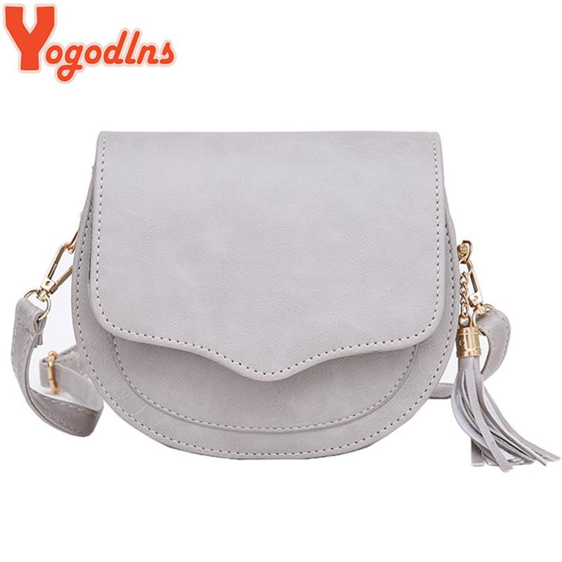 Yogodlns Fashion Preppy Style Circular Shoulder Bags For Women Tassel Female Messenger Bag Girl's Small Saddle Crossbody Bag