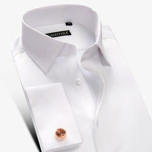 Image 2 - Рубашка мужская с французскими манжетами, роскошная Свадебная сорочка из мерсеризованного хлопка с длинными рукавами, Классическая с запонками