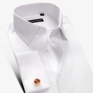 Image 2 - New Luxury Mercerized Cotton French Cuff Button Shirts Long Sleeve Men Wedding Shirts High Quality Dress Shirts with Cufflinks