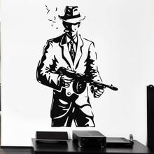 Free Shipping diy Wallpaper Gangster Hat Gun Weapons Tommy-Gun Vinyl Wall Decal Home Decor Art Mural Removable Wall Stickers стоимость
