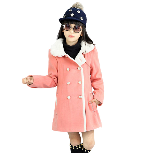 Girls Wool Coat Double Breasted Winter Jackets for Kids Overcoat Dark blue and Pink Snow Outerwear for 5-12 Years Clothes
