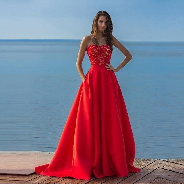 21bd17baa Elegante Rojo 2 Unidades Prom Vestidos con Falda Desmontable Tren Bolsillos  Laterales de Encaje Corto