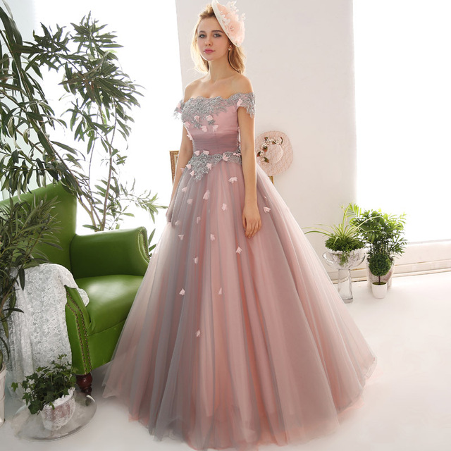 2017 Applique Beading Flowers Off the Shoulder Puffy Prom Dresses Long  Corset Cosplay Stage Dress Women Party Gowns b45339b69f37
