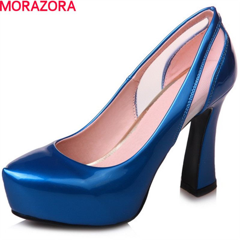 MORAZORA Pu patent leather women shoes pumps fashion contracted high heels shoes shallow big size 34-42 platform shoes party morazora women patent leather pumps sexy lady high heels shoes platform shallow single elegant wedding party big size 34 43