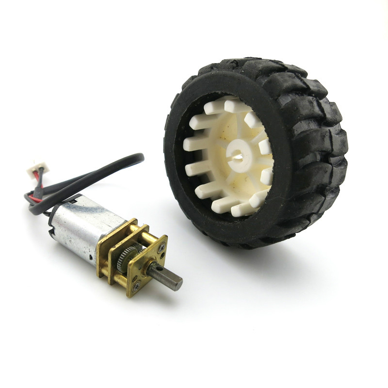 <font><b>N20</b></font> Micro Gear Motor Rubber <font><b>Wheel</b></font> for Mini Motor V 6V <font><b>N20</b></font> Metal DC Change Speed Motor <font><b>Wheel</b></font> Set for DIY Robot Smart Car Model image