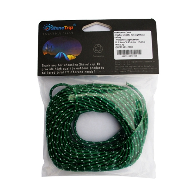 2.5MM Diameter 50Ft Reflective String Windproof Tent Rope Guy Line Camping Tent Kits Camping Rope Canopy Guy Ropes