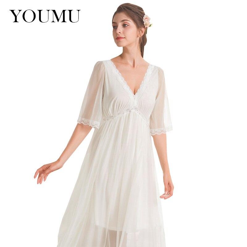 Women Sweet Lolita Nightgown V-neck Sexy Princess Dress Ankle-Length Vintage Sleepwear Lace Long Nightdress Lingerie 912-226