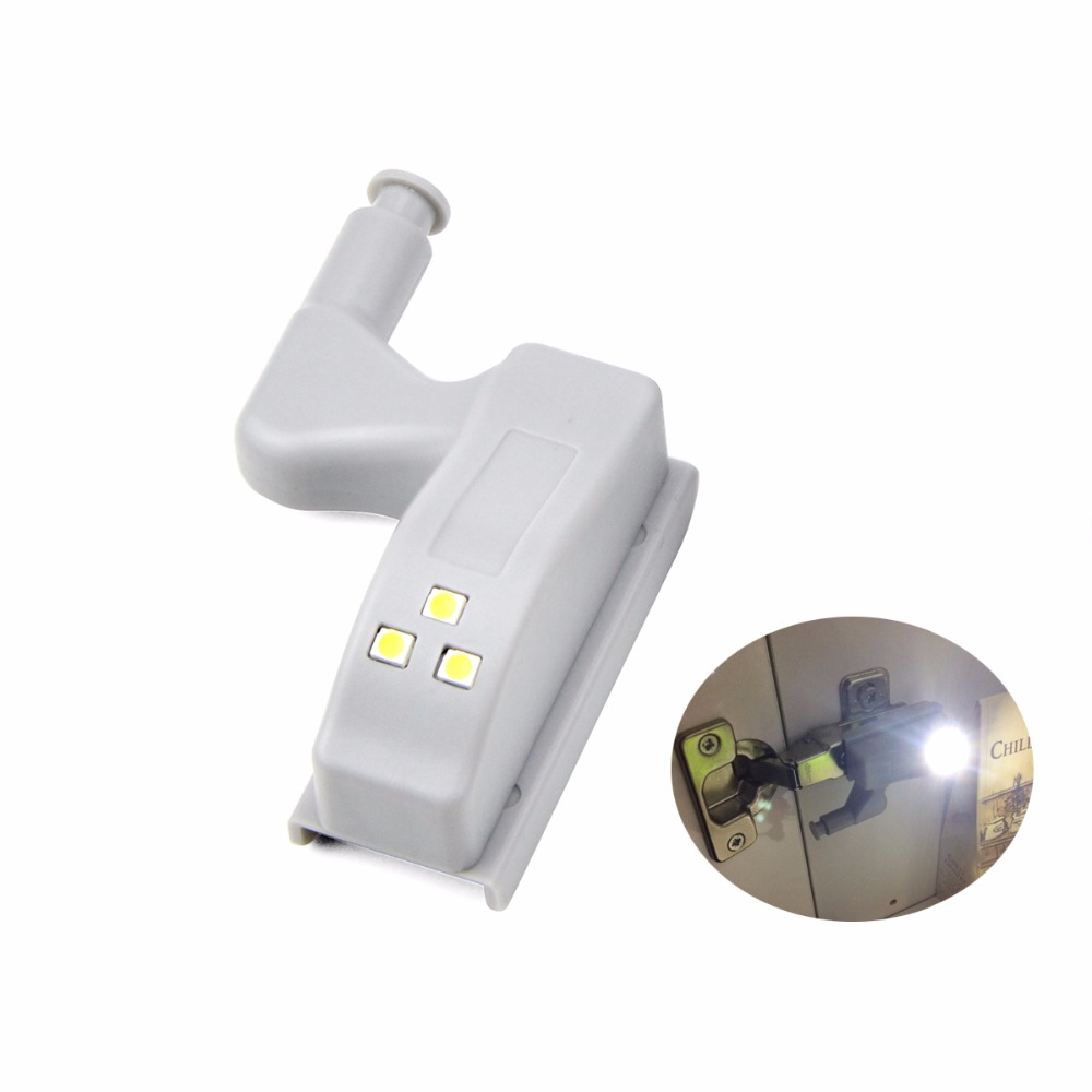 LED Hinge Night Light Universal Inner Hinge LED Sensor Night Light Cabinet Wardrobe Cupboard Door 3 LEDs Lamp Auto Switch Bulb