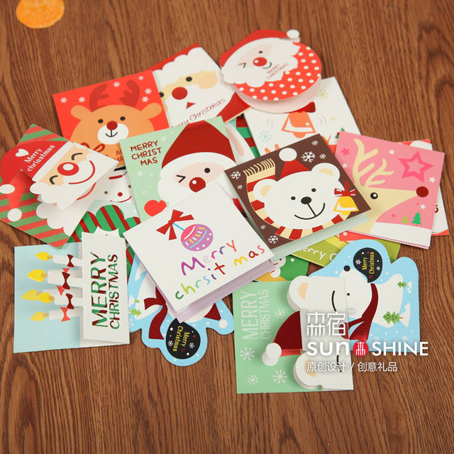 Free ship1lot140pccute christmas cartoon small greeting card mini holiday