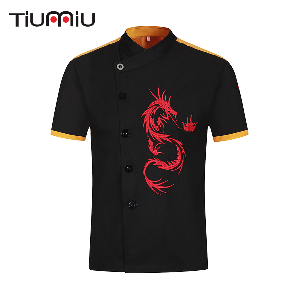 Fashion Dragon Embroidery Chef Jackets Women Men Short-sleeved Kitchen Catering Restaurant Hotel BBQ Cafe Cook Wear Uniform