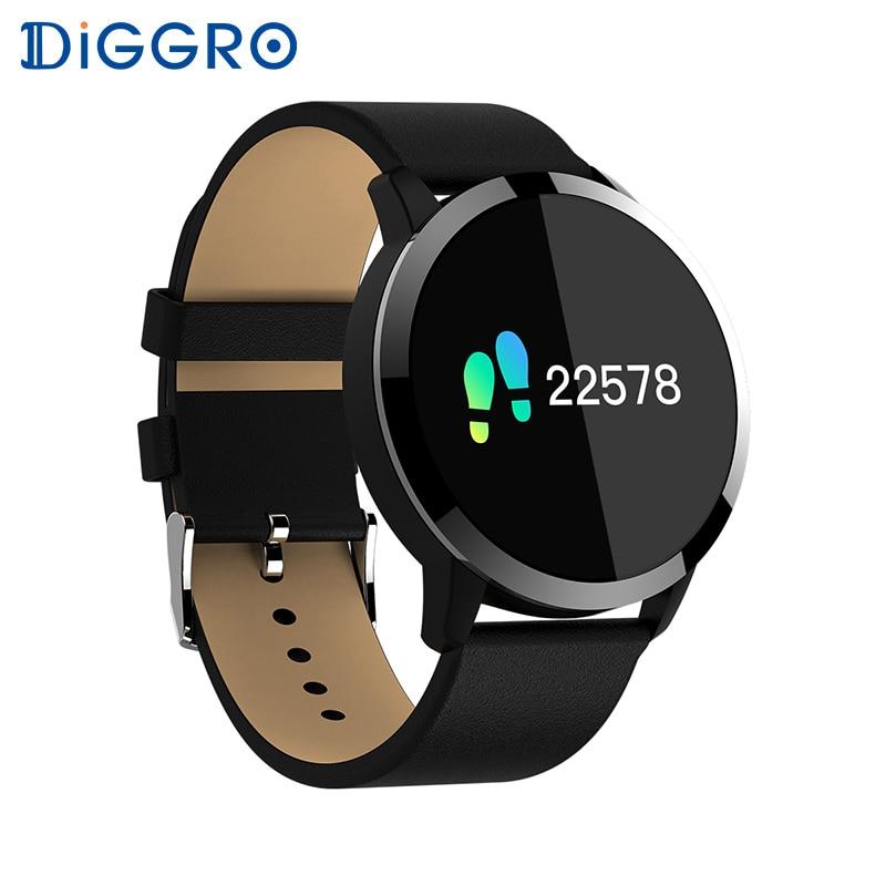 Diggro Q8 OLED Bluetooth inteligente reloj de acero inoxidable resistente al agua Dispositivo de vestir reloj inteligente reloj de pulsera de las mujeres de los hombres rastreador