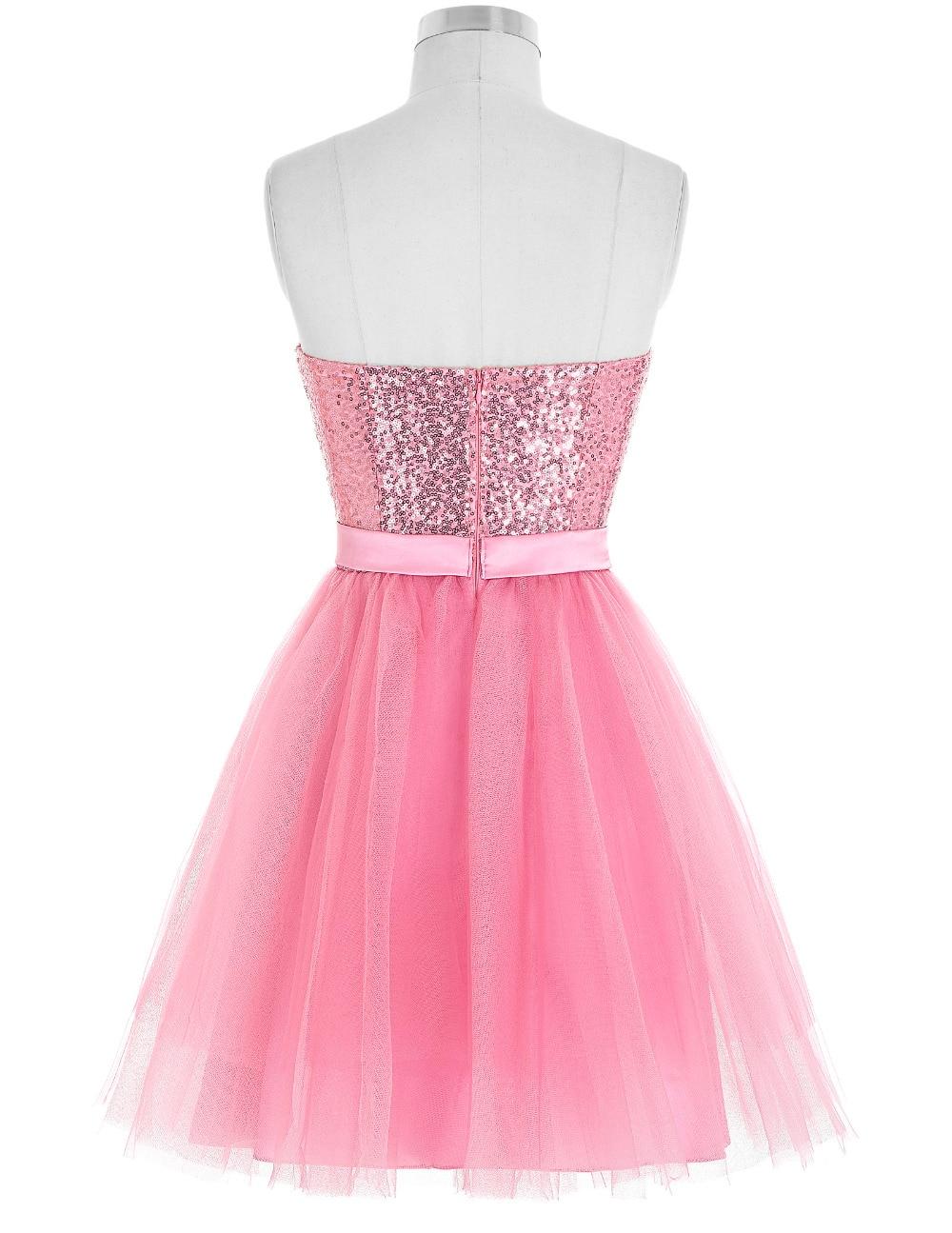 Kate Kasin Short Cocktail Dresses 2017 Sequins Pink Tulle Party ...