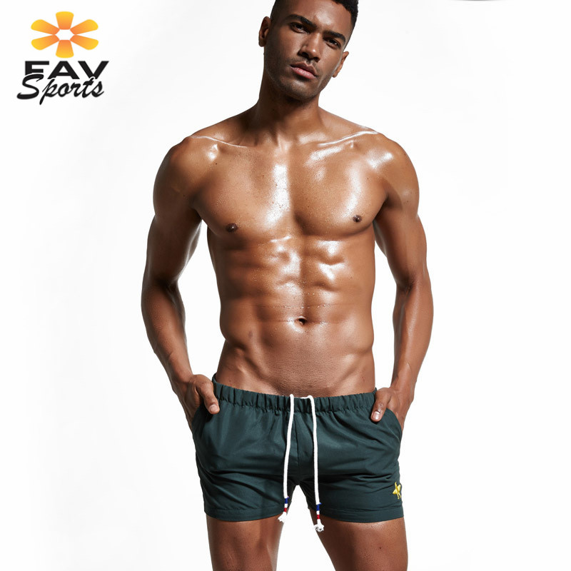 Favsports Mens Surf Swim Beach Pants For Men Surfing Board Shorts Elastic Solid Bathingsuit Trunks Bermuda Running Sports Pants