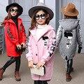 Personagem adolescente menina casacos de inverno crianças roupas de outono 2017 longa com capuz crianças jaquetas para meninas cinza roupas cor de rosa vermelho