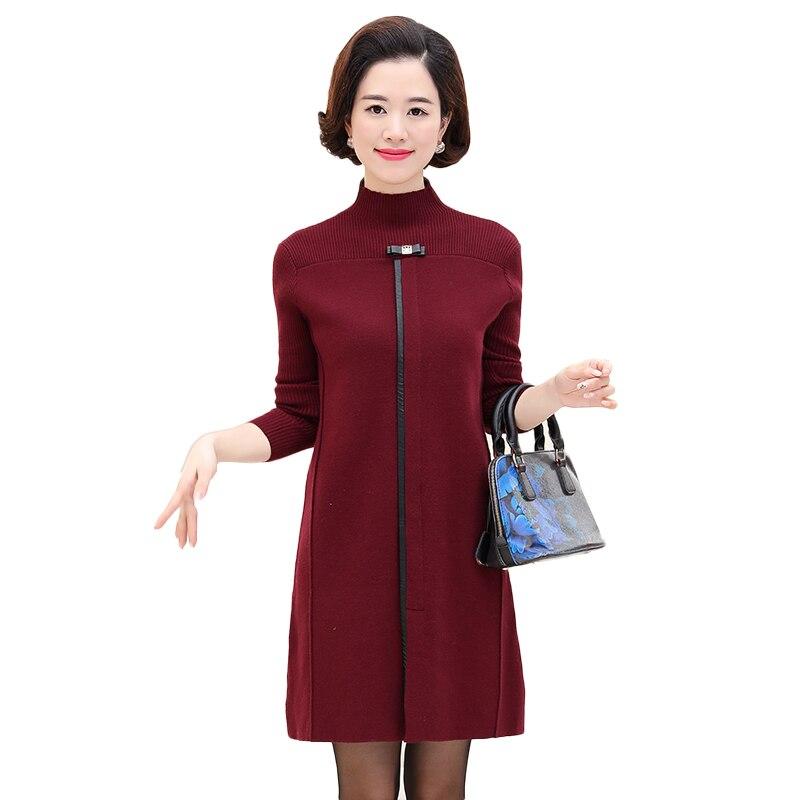 Femmes d'âge moyen col roulé chaud pull robe nouvelle automne hiver à manches longues solide tricoté robe Femme robes de soirée élégantes