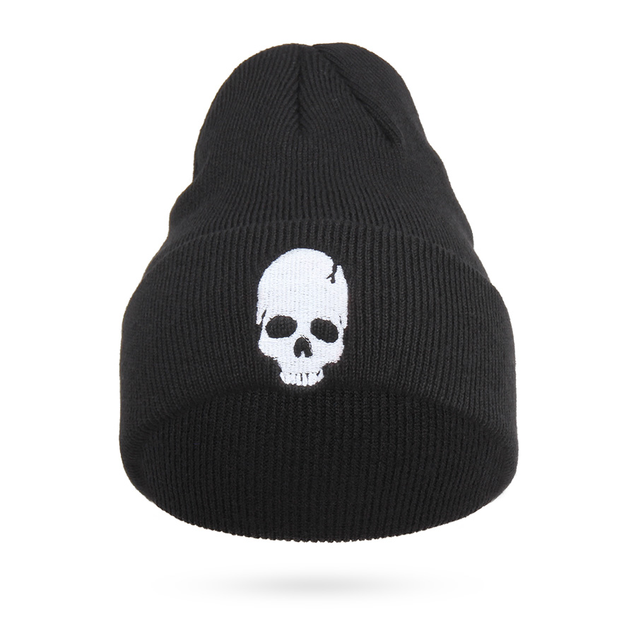 Cool Embroidery Skull Head Beanies For Men Winter Cap Women's Acrylic Black Skiing Hat Stretch Hip-Hop Skullies Warm Hats Male