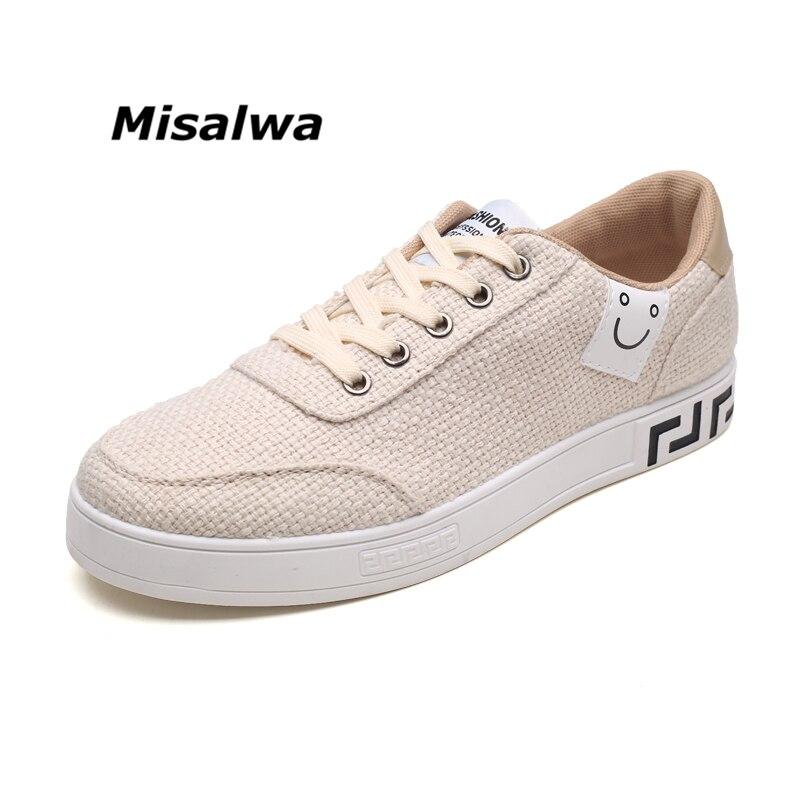 Misalwa Mens Adult Youth Canvas Hemp Shoes Beige Sneakers Non-slip Casual Stylish Hip-pop Fashion Light School WhiteBlackShoes