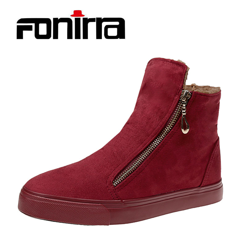 FONIRRA Winter Warm Ankle Women Boots Platform Side Zipper Flock Women Boots Fashion Black Flat Snow Boots For Ladies 098 2016 rhinestone sheepskin women snow boots with fur flat platform ankle winter boots ladies australia boots bottine femme botas