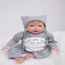20 inch 50 cm Silicone baby reborn dolls, lifelike doll reborn Fashion gray piece of clothing lovely doll