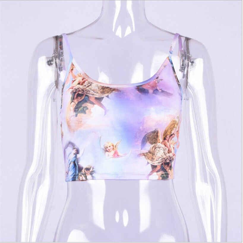 2019 moda Brand New kobiety anioł wydrukowany biustonosz w formie kamizelki Crop bluzka Backless Tube Spaghetti Strappy Bandeau Stretch Camis