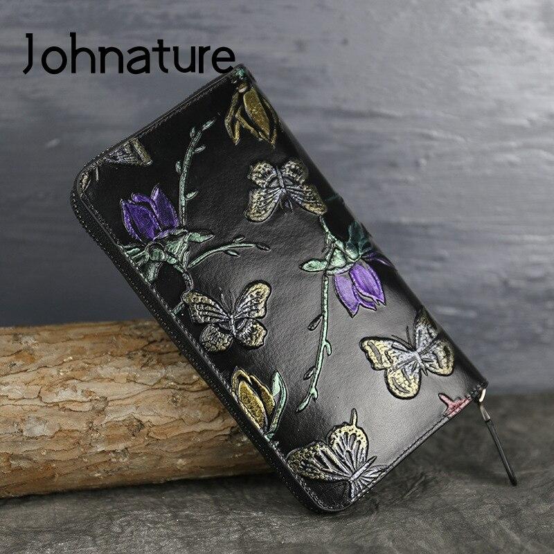 Johnature 2019 New Genuine Leather Vintage Animal Prints Zipper Embossed Butterfly Flower Long Standard Wallets Women Purse