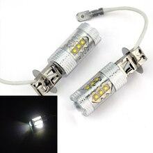 1 pair H3 80 Вт Супер Яркий Белый Туман Хвост Включите DRL Головного Света Автомобиля Лампа