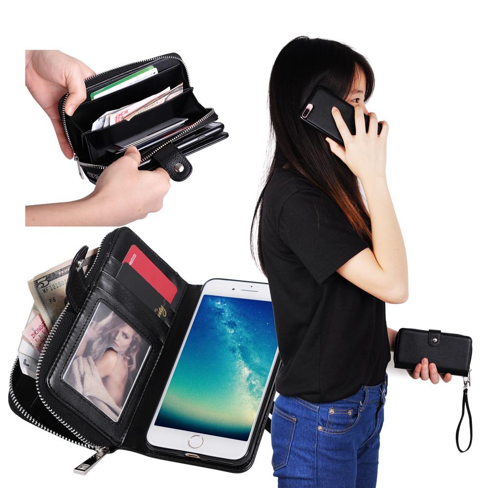 För iPhone 6s Case Funda Lyxplånbok Flip Lädermagnet Avtagbar - Reservdelar och tillbehör för mobiltelefoner - Foto 6