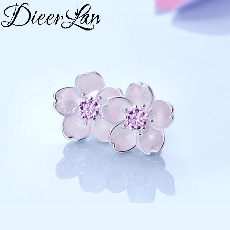Hot Sale 925 Sterling Silver AAA Zirconia Cheery Flower Earrings For Women Fashion Jewelry sterling-silver-jewelry pendientes