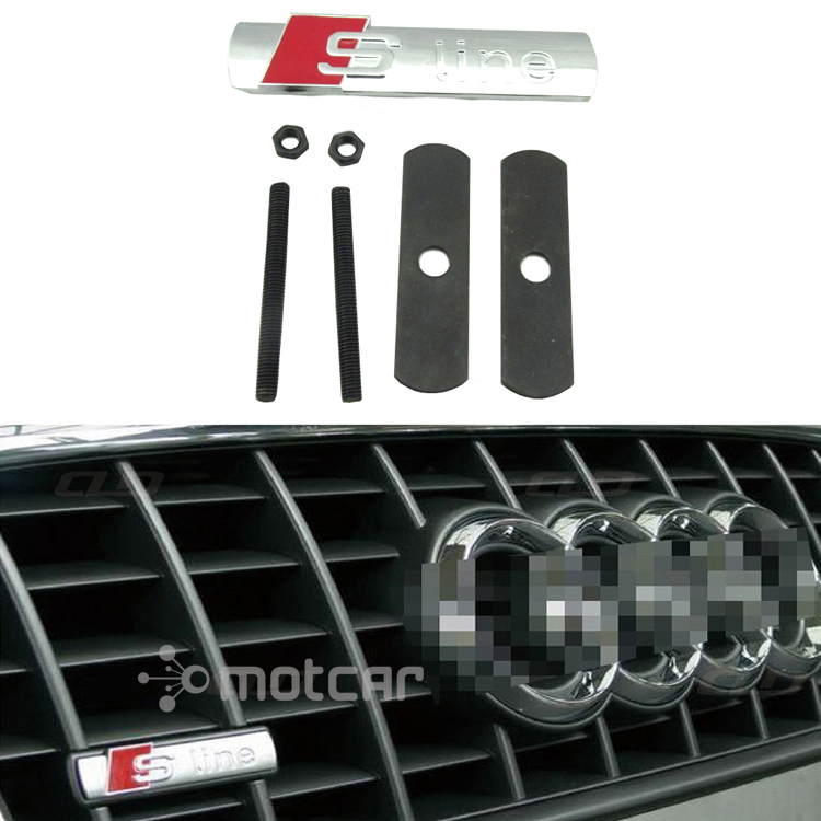Free Shipping Car Styling 3D Metal S-line Logo Front Hood Grille Badge Grille Emblem Auto Stickers Car Decal For Audi 0874 s line sline front grille emblem badge chromed plastic abs front grille mount for audi a1 a3 a4 a4l a5 a6l s3 s6 q5 q7 label