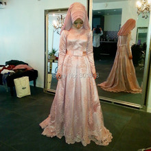 Oumeiya OW310 Pink Satin With Hijab A-line High Neck Long Sleeve Islamic Wedding Dress 2015